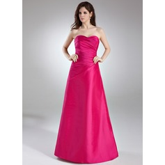 A-Line/Princess Sweetheart Floor-Length Taffeta Bridesmaid Dress With Ruffle