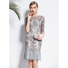 Nylon With Embroidery Above Knee Dress (199077601)