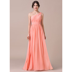 A-Line/Princess One-Shoulder Floor-Length Chiffon Bridesmaid Dress With Ruffle (007057740)