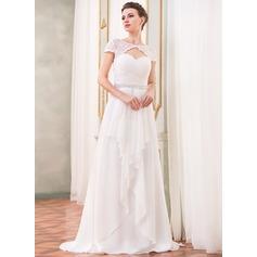 A-Line/Princess Scoop Neck Sweep Train Chiffon Wedding Dress With Beading Sequins Cascading Ruffles