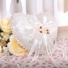 Heart Shaped Ring Pillow in Organza With Faux Pearl/Lace Lined