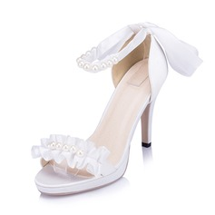 Women's Satin Stiletto Heel Pumps Sandals With Imitation Pearl Ruched