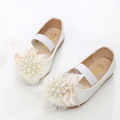 Girl's Leatherette Flat Heel Closed Toe Flats With Beading Bowknot (207101480)