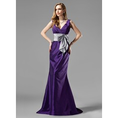 Trumpet/Mermaid V-neck Sweep Train Taffeta Bridesmaid Dress With Ruffle Sash Bow(s)
