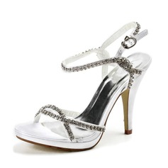 Women's Satin Stiletto Heel Platform Sandals With Rhinestone