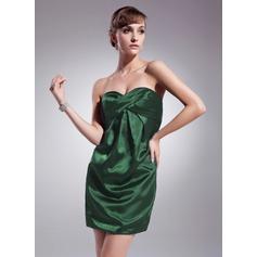 Sheath/Column Sweetheart Short/Mini Charmeuse Cocktail Dress With Ruffle