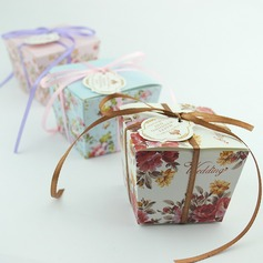 Floral Design Cuboid Favor Boxes With Ribbons (Set of 12)