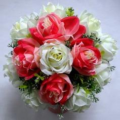 Refined Round Satin Bridal Bouquets
