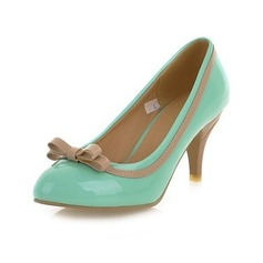 Patent Leather Cone Heel Pumps Closed Toe With Bowknot shoes