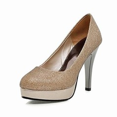 Sparkling Glitter Fabric Stiletto Heel Closed Toe Platform Pumps (085016685)
