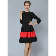Cotton/Spandex With Stitching/Color-block Above Knee Dress (199087068)