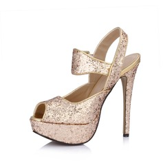 Leatherette Sparkling Glitter Stiletto Heel Sandals Platform Peep Toe Slingbacks With Buckle shoes
