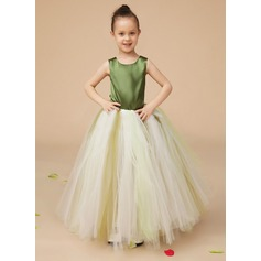 A-Line/Princess Floor-length Flower Girl Dress - Tulle/Charmeuse Sleeveless Scoop Neck With Bow(s)