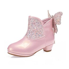 Girl's Leatherette Sparkling Glitter Flat Heel Round Toe Boots With Beading Zipper