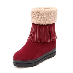 Women's Suede Wedge Heel Boots Ankle Boots With Tassel shoes