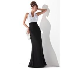 Empire-Linie Träger Bodenlang Chiffon Abendkleid mit Rüschen