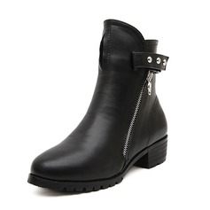 Leatherette Chunky Heel Closed Toe Boots Ankle Boots Martin Boots With Rivet Zipper shoes
