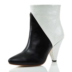 Real Leather Cone Heel Pumps Closed Toe Ankle Boots shoes