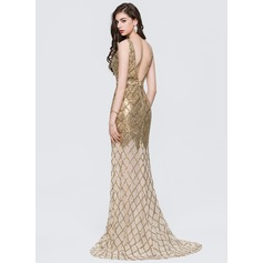 Trumpet/Mermaid V-neck Sweep Train Sequined Prom Dresses With Beading (018146381)