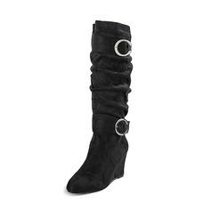 Women's Suede Wedge Heel Boots Knee High Boots shoes