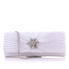 Elegant Silk With Ruffles/Rhinestone Clutches