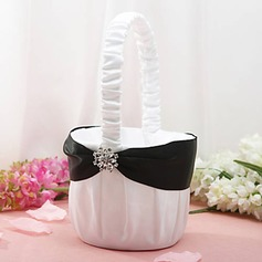 Flower Basket in White Satin With Rhinestone Flower(102018056)