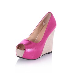 Women's Leatherette Wedge Heel Wedges Peep Toe shoes