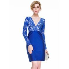 Sheath/Column V-neck Short/Mini Lace Jersey Cocktail Dress
