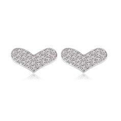 Sweet Heart Copper/Zircon/Platinum Plated Ladies' Earrings