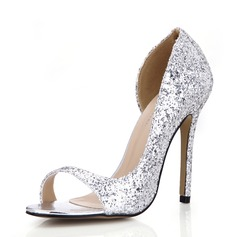 Women's Sparkling Glitter Stiletto Heel Sandals Peep Toe shoes (087072649)