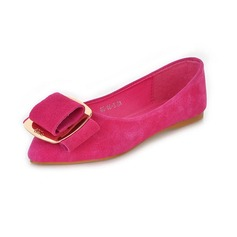 Leatherette Flat Heel Closed Toe Flats With Bowknot (086026219)