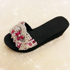 Women's Cloth Wedge Heel Sandals Slippers With Rhinestone shoes (087089796)