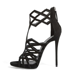 Women's Suede Stiletto Heel Sandals Peep Toe shoes