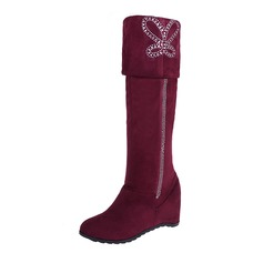 Women's Leatherette Wedge Heel Boots Mid-Calf Boots shoes