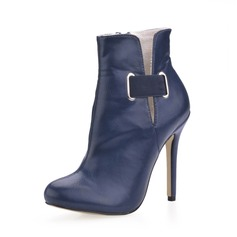 Leatherette Stiletto Heel Closed Toe Ankle Boots With Buckle shoes