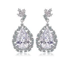 Shining Zircon/Platinum Plated Ladies' Earrings