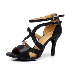 Women's Leatherette Heels Sandals Pumps Latin With Sequin Dance Shoes