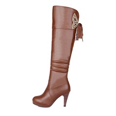 Women's Leatherette Stiletto Heel Platform Knee High Boots With Ruched Zipper shoes