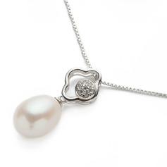 "Attractive Sterling Silver/""AAA"" Pearl Ladies' Necklaces"