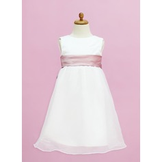 Empire Floor-length Flower Girl Dress - Organza/Satin Sleeveless Scoop Neck With Sash