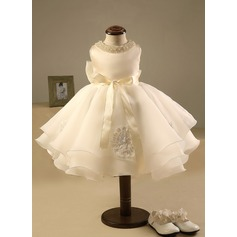 Ball Gown Knee-length Flower Girl Dress - Polyester/Cotton Sleeveless Scoop Neck With Beading/Bow(s)