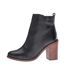 Women's Leatherette Chunky Heel Closed Toe Boots Ankle Boots shoes