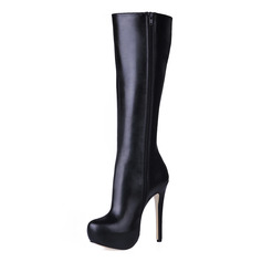 Leatherette Stiletto Heel Platform Boots Knee High Boots shoes