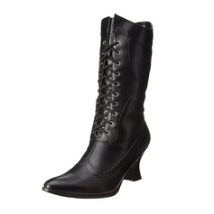 Women's Leatherette Stiletto Heel Boots Mid-Calf Boots With Lace-up shoes