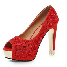 Leatherette Chunky Heel Pumps Platform Peep Toe With Rhinestone shoes
