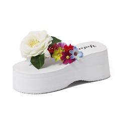 Women's Cloth Wedge Heel Sandals Flip-Flops With Flower shoes