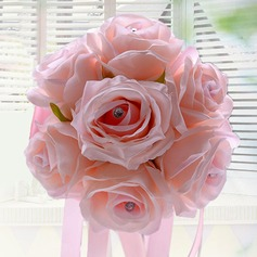 Sweet Round Artificial Silk/Rhinestone Bridesmaid Bouquets