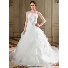 Ball-Gown Strapless Cathedral Train Satin Organza Wedding Dress With Ruffle Beading Appliques Lace Bow(s) Cascading Ruffles