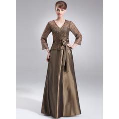 A-Line/Princess V-neck Floor-Length Taffeta Mother of the Bride Dress With Beading Sequins