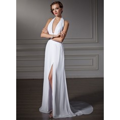 A-Line/Princess Halter Watteau Train Chiffon Prom Dress With Ruffle Split Front